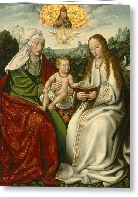 Saint Anne With The Virgin And The Christ Child Greeting Card by Master Of Frankfurt