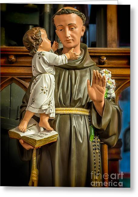 Rosary Digital Art Greeting Cards - Saint Anthony Greeting Card by Adrian Evans