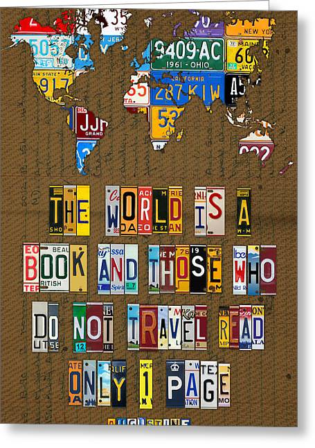 Road Trip Greeting Cards - Saint Augustine Travel Quote Recycled Vintage License Plate Letter Word Art Greeting Card by Design Turnpike