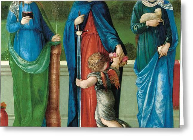 Barbara Paintings Greeting Cards - Saint Barbara and Saint Dorothy with Saint Agnes Greeting Card by Sir Edward Coley Burne-Jones