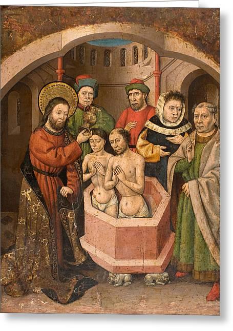 Saint Bartholomew Baptising Greeting Card by Master of Saint Bartholomew