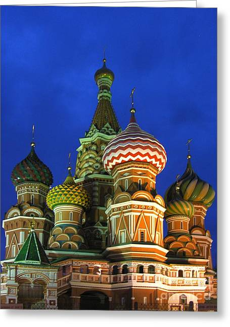Saint Basil's Cathedral Moscow  Greeting Card by Karin Ubeleis-Jones