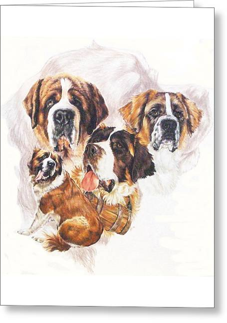 Working Dog Greeting Cards - Saint Bernard with Ghost Image Greeting Card by Barbara Keith