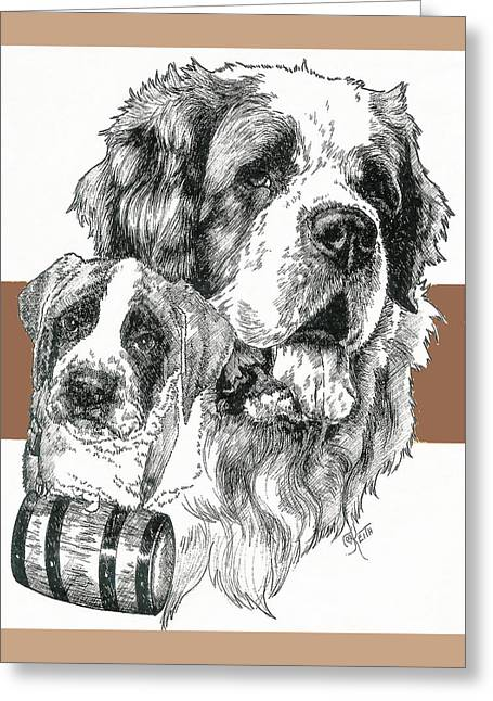 Working Dog Mixed Media Greeting Cards - Saint Bernard Father and Son Greeting Card by Barbara Keith