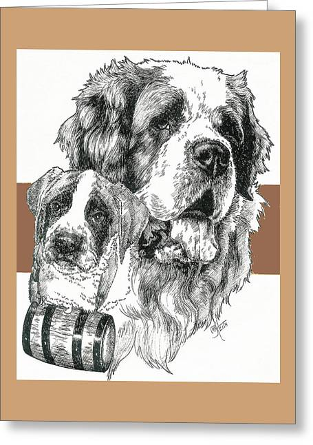 Working Dog Greeting Cards - Saint Bernard Father and Son Greeting Card by Barbara Keith