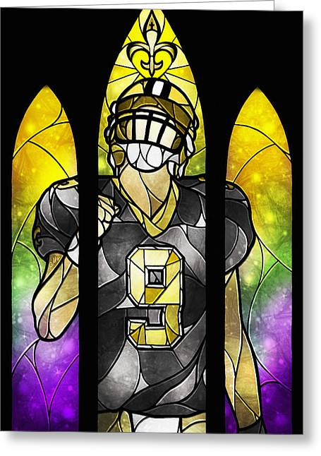 Nfl Digital Art Greeting Cards - Saint Brees Greeting Card by Mandie Manzano