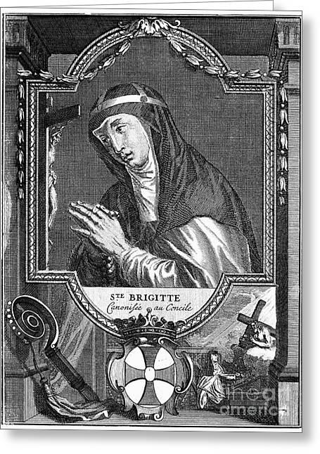 Cartouche Greeting Cards - SAINT BRIDGET (c1303-1373) Greeting Card by Granger