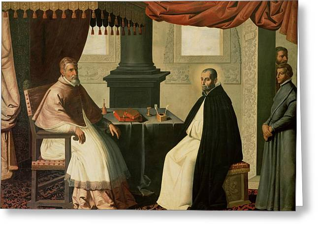 Interior Scene Greeting Cards - Saint Bruno and Pope Urban II Greeting Card by Francisco de Zurbaran