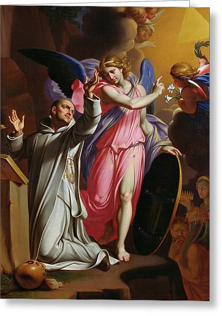 Saint Bruno At Prayer Greeting Card by Adrien Sacquespee