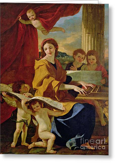 Draped Greeting Cards - Saint Cecilia Greeting Card by Nicolas Poussin