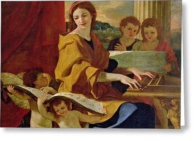 Saint Cecilia Greeting Card by Nicolas Poussin