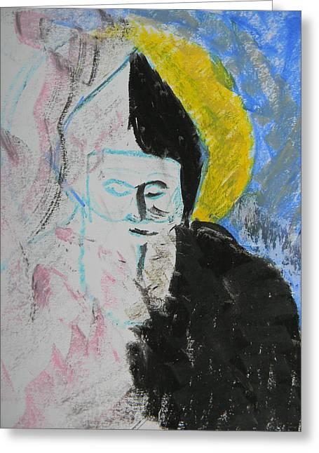 Catholic Art Drawings Greeting Cards - Saint Charbel Greeting Card by Marwan George Khoury