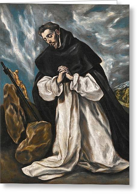 Saint Dominic Greeting Cards - Saint Dominic in Prayer Greeting Card by El Greco