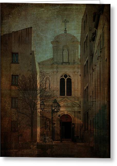Sarah Vernon Greeting Cards - Saint Etienne Re-imagined Greeting Card by Sarah Vernon