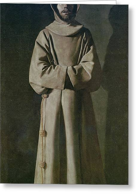 Obedience Greeting Cards - Saint Francis Greeting Card by Francisco de Zurbaran