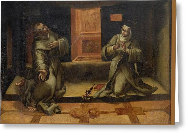 Saint Francis Of Assisi And Saint Clare In An Interior Greeting Card by MotionAge Designs
