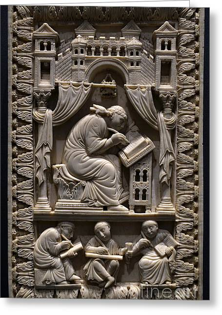 Saint Gregory The Great With Scribes Greeting Card by Science Source