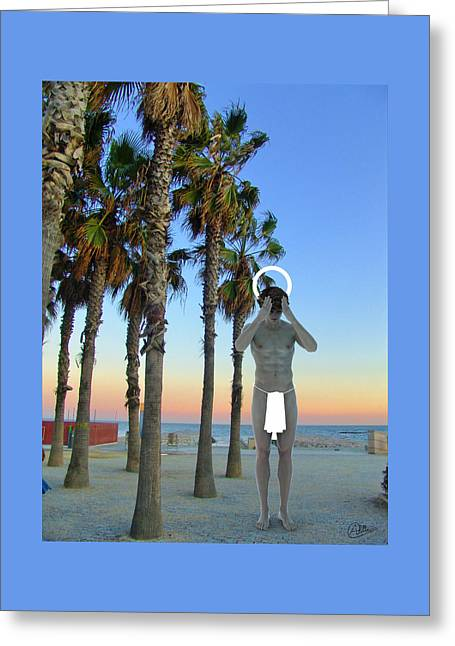Saint In Bogatell Beach Greeting Card by Quim Abella