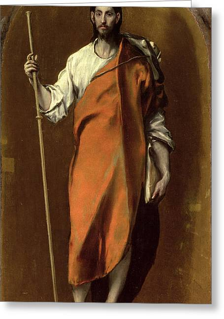 Staff Paintings Greeting Cards - Saint James the Greater Greeting Card by El Greco