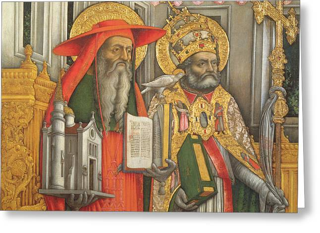 The Church Greeting Cards - Saint Jerome and Saint Gregory Greeting Card by Antonio Vivarini