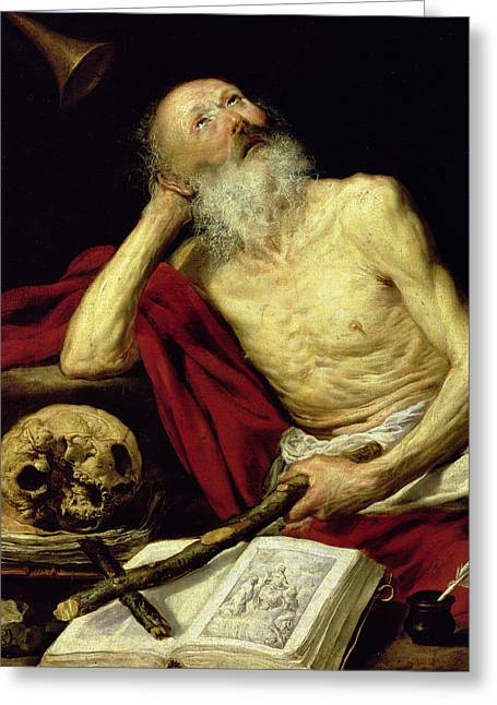 The Church Greeting Cards - Saint Jerome Greeting Card by Antonio Pereda y Salgado