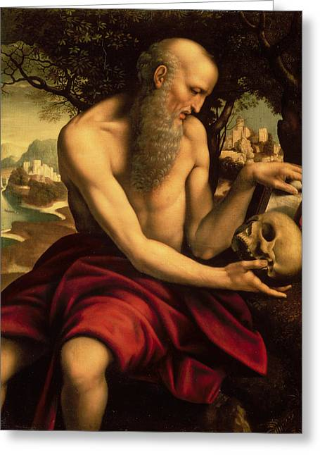 Religious Paintings Greeting Cards - Saint Jerome Greeting Card by Cesare de Sesto