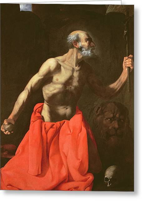 Crucifix Art Greeting Cards - Saint Jerome Greeting Card by Francisco de Zurbaran