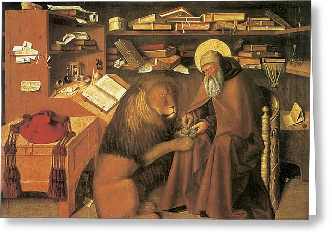 Saint Jerome In His Study Greeting Card by Colantonio