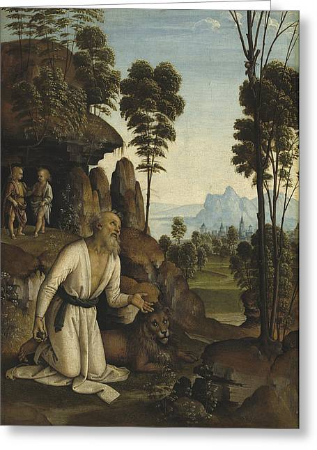 Saint Jerome In The Wilderness Greeting Card by Follower Of Pietro Perugino