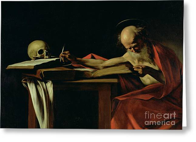 Old Man Greeting Cards - Saint Jerome Writing Greeting Card by Caravaggio