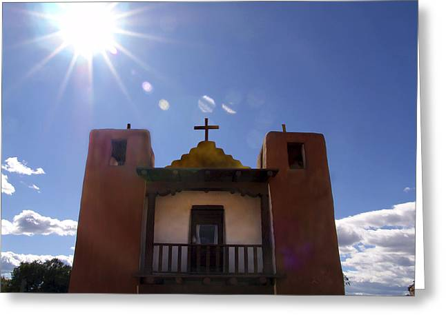 Churches Greeting Cards - Saint Jeromes Chapel Taos Pueblo Greeting Card by Kurt Van Wagner