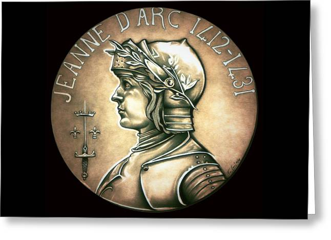 Silver Coins Greeting Cards - Saint Joan of Arc Greeting Card by Fred Larucci