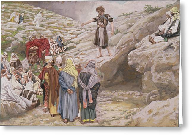 Best Sellers -  - Saint Joseph Greeting Cards - Saint John the Baptist and the Pharisees Greeting Card by Tissot
