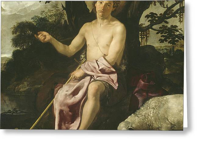 Saint John The Baptist In The Wilderness Greeting Card by Diego Rodriguez de Silva y Velazquez
