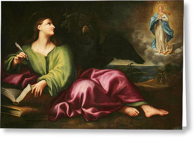John The Evangelist Greeting Cards - Saint John the Evangelist Greeting Card by Domenico Piola