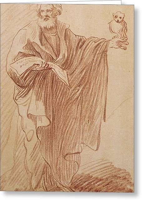 Christian Pastels Greeting Cards - Saint John the Evangelist Greeting Card by Edme Bouchardon