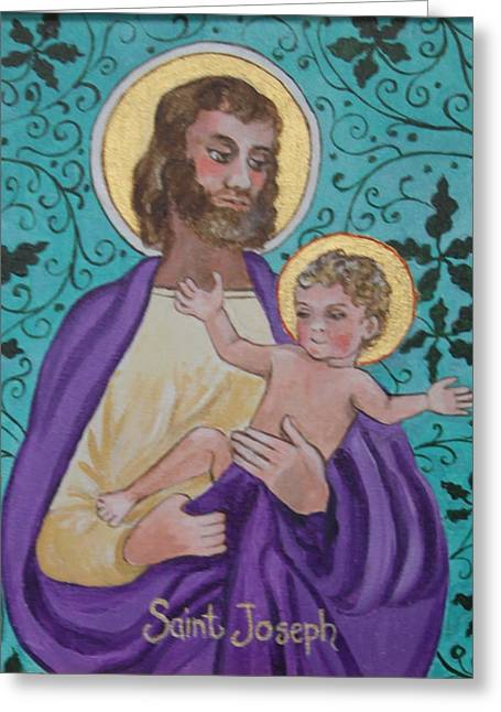 Saint Joseph And Baby Jesus Greeting Card by Jan Mecklenburg