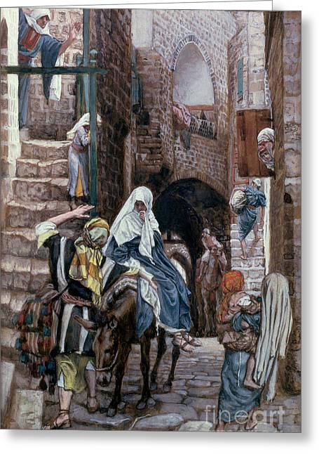 Donkey Greeting Cards - Saint Joseph Seeks Lodging in Bethlehem Greeting Card by Tissot