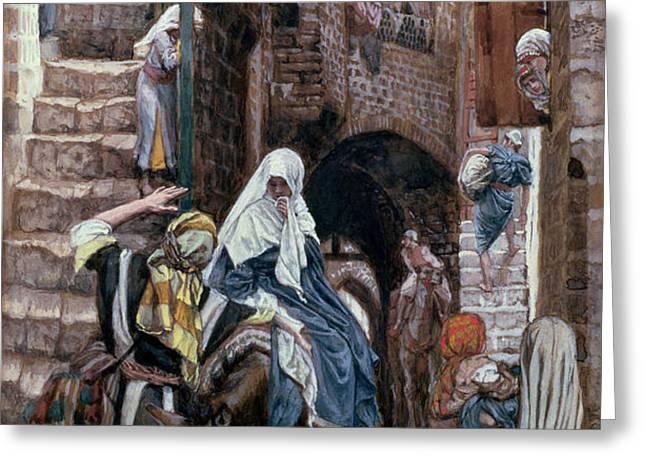 Saint Joseph Seeks Lodging in Bethlehem Greeting Card by Tissot
