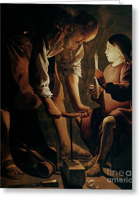Christianity Paintings Greeting Cards - Saint Joseph the Carpenter  Greeting Card by Georges de la Tour