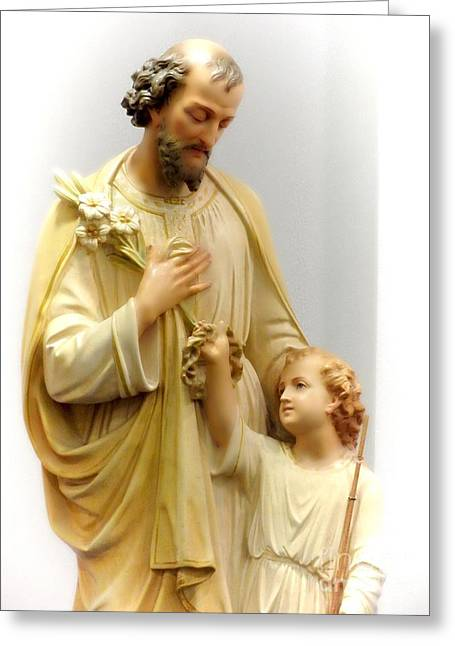Saint Joseph Greeting Cards - Saint Joseph With Child Jesus Greeting Card by Elizabeth Duggan