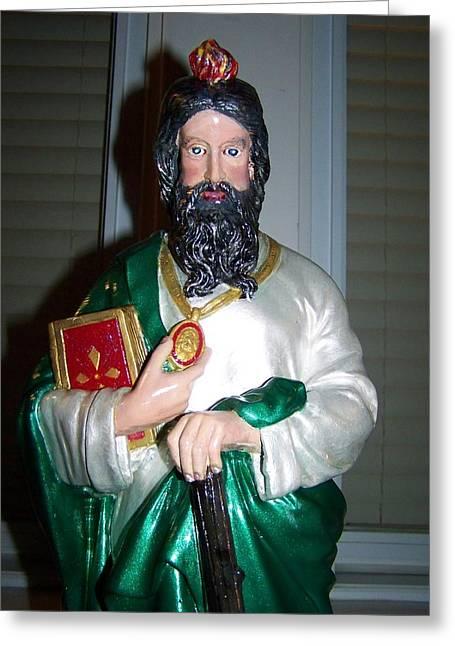 Saint Jude Greeting Cards - Saint Jude Thadeus Apostle of Jesus Print of Original Greeting Card by Robert Frederico