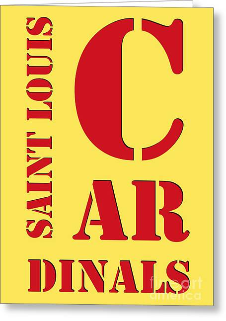 Saint Louis Cardinals Typography Yellow Greeting Card by Pablo Franchi