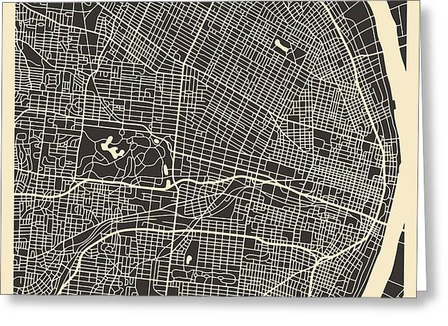 SAINT LOUIS MAP Greeting Card by Jazzberry Blue