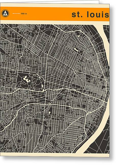 Saints Greeting Cards - Saint Louis Map Greeting Card by Jazzberry Blue