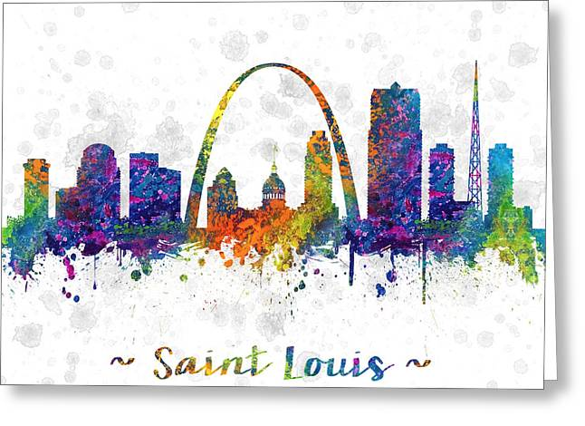 Skylines Drawings Greeting Cards - Saint Louis Missouri color 03SQ Greeting Card by Aged Pixel