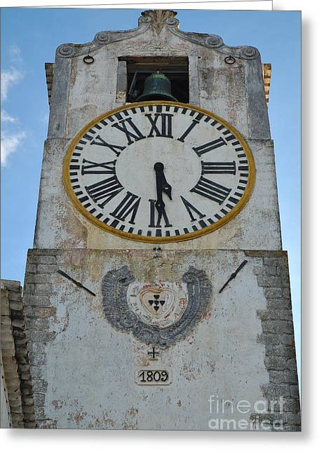 Medieval Greeting Cards - Saint Mary church clock tower in Tavira. Portugal Greeting Card by Angelo DeVal