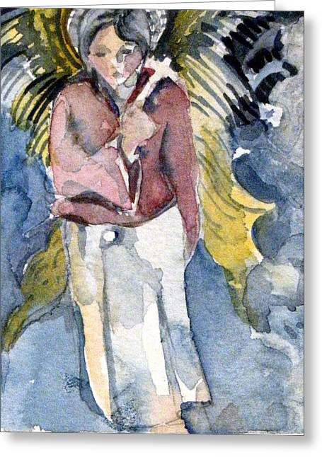 Angel Greeting Cards Greeting Cards - Saint Matthew Greeting Card by Mindy Newman