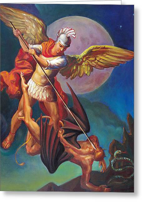 Evangelical Greeting Cards - Saint Michael the Warrior Archangel Greeting Card by Svitozar Nenyuk