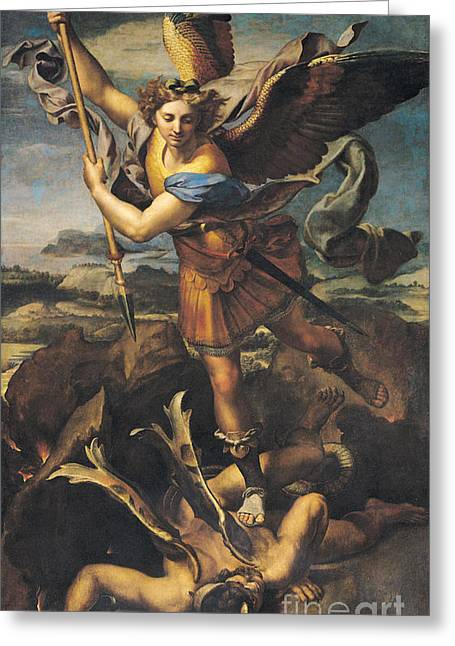 Apocalypse Greeting Cards - Saint Michael Overwhelming the Demon Greeting Card by Raphael